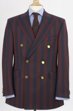 Red and blue striped doublebreasted Bladen blazer