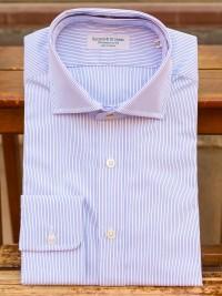 Rayner & Sturges Blue Stripe Poplin Tunic Collar Shirt