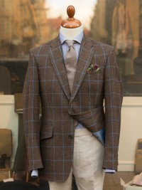 Bladen Shelton Brown Windowpane Tweed Jacket