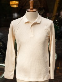 Sunspel Waffle Long Sleeve Polo Shirt Archive White