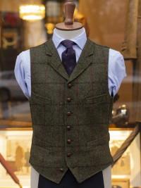Bladen Harris Tweed Bottle Green Waistcoat