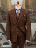 Bladen Harris Tweed Brown Rust Check Three-piece Suit