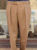 Bladen Irish Linen Soft Tan Pleated Trouser