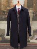 Private White V.C. Navy Raglan Overcoat